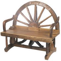 "Half Wagon Wheel Bench 47"""