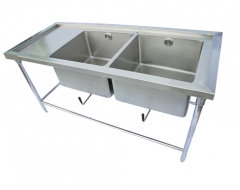 Stainless Steel Sink with 2 holes table