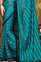 Cyan blue Plain Silk