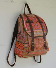 Vintage Backpack HMONG Hill Tribe Suede Book Bag