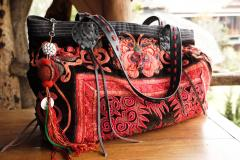 Leather Vintage Bag - Hand Embroidered HMONG Hill