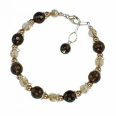 Jewelry set with smoky quartz handmade bracelet