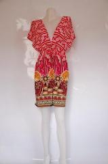 Kimono Zigzag Print V Neck Dress