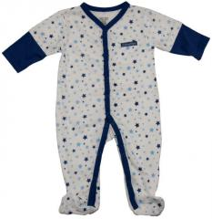 Baby blue long sleeve footed coverall bodysuit
