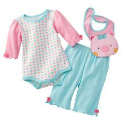 Girl set 3 piece blouse pants and bibs