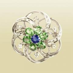 Sapphire Garnet Brooch