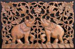 Elephant Teak Carved Wall Picture