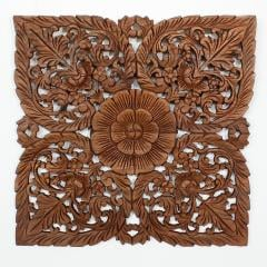 The Lotus : Teak Carving Picture