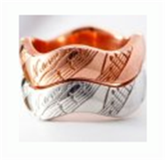 Kate Ring silver note pink and white gold
