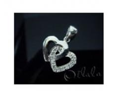 Heart pendant silver cross embedded gem