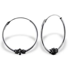 Silver Hoops Bali style, oxidized