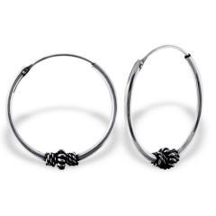 Silver Hoops Bali style, oxidized