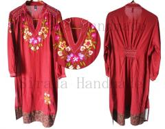 Long sleeve casual hand embroidered dress