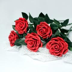 Роза бумажная на ножке