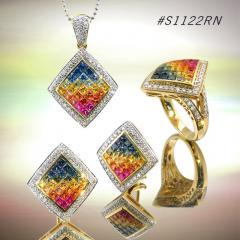 Rainbow Sapphire Jewelry Set ( code: S1122RN)