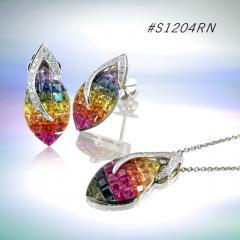 Rainbow Sapphire Jewelry Set ( code: S1204RN)