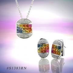 Rainbow Sapphire Jewelry Set ( code: S1383RN)