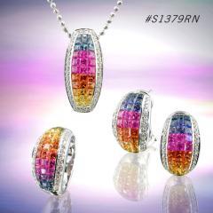 Rainbow Sapphire Jewelry Set ( code: S1379RN)