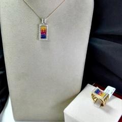 Rainbow Sapphire Jewelry Set ( code: S1178)