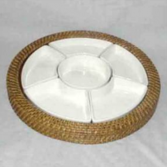 6 compartment round tray