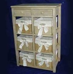 2 drawers table with 6 baskets