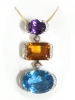 Yellow Gold 18k Diamond Big Multicolor Gemstone