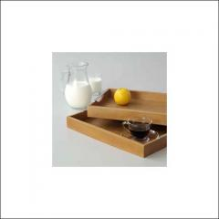 2 pieces set of serving-trays with chrome handles