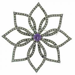 Floral Silver Brooch