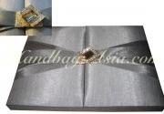 Silver silk invitation box SIBE121