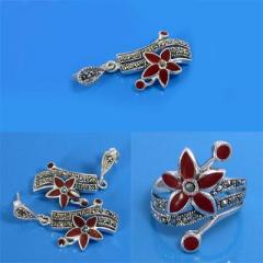 925 Sterling Silver Marcasite Ring, Earring