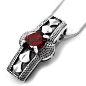 925 Sterling Silver CZ Garnet Gemstone Pendant