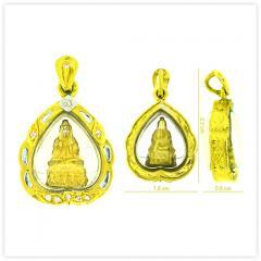 P-0004 Unique Real 18k Gold Kuan Yin God Amulet Pendant