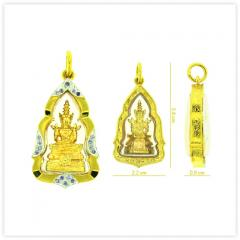 P-0018 Unique Real 18k Gold The Emerald Buddha Amulet Pendant