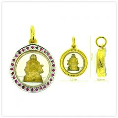 P-0038 Unique Real 18k Gold Fat Happy Buddha Amulet Pendant
