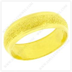 R-0002-1BAHT Real 23k Baht Gold Dazzle Domed Wedding Band Ring with Polished Edges
