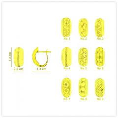 E-0026 Real 18k Gold Dazzle Texture Hinged Huggie Earrings with Polished Edges