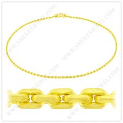 NM-0003-2BAHT Real 23k Baht Gold Polished Anchor Chain Link Necklace