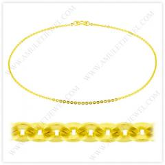 NM-0002-5BAHT Real 23k Baht Gold Polished Short Flat Oval Link Chain Necklace