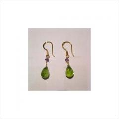 Amethyst And Peridot Gold Drop Earrings