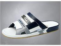 Mens sandals, White-Dark Navy-Pearlized Gray Nappa