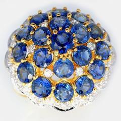 Blue sapphire diamond yellow gold ring