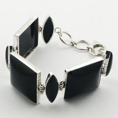 Black Agate Gemstone Mixed Shapes Sterling Silver