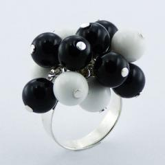Sterling Silver Gemstone Ring Black Agate White