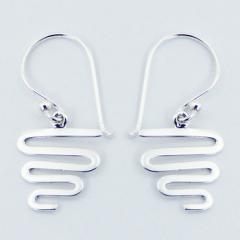 Sterling Silver Dangle Earrings Dynamic Wavy Lines