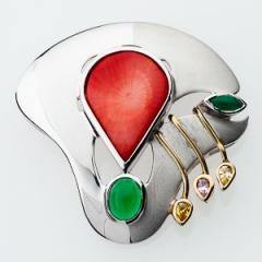 Pendant Sterling Silver with Coral H27P.03