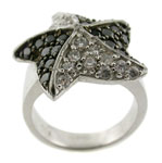 14K White Gold Ring with white and Black Created
