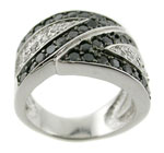 Charming 14K White Gold Ring with black &