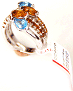 18k Solid White Gold ring with Semi Precious