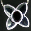 Sterling Silver Pendant with Created Garnet