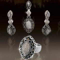 Silver and Gold Diamond Jewelry Set